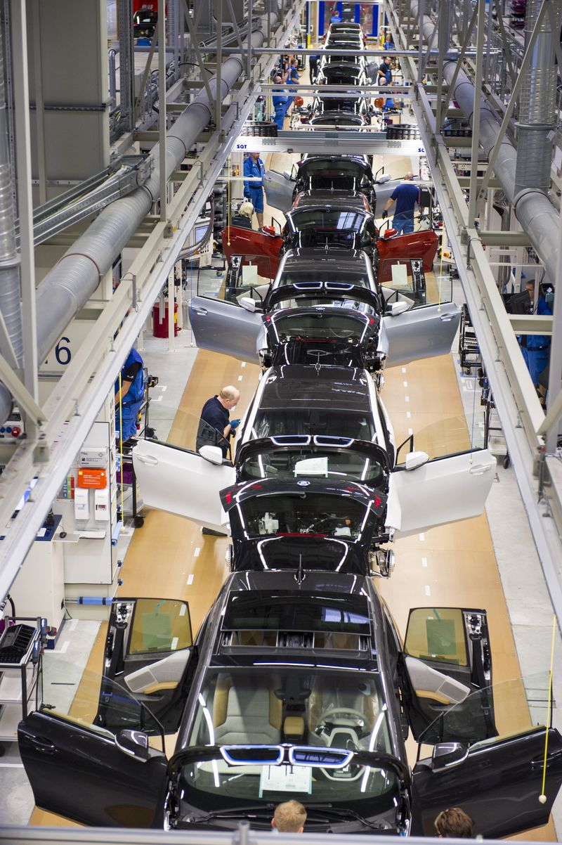 BMW i3 cars getting assembled in Leipzig. Germany is held up as a model for the way it has preserved a strong manufacturing culture, yet manufacturing is shrinking there, too.