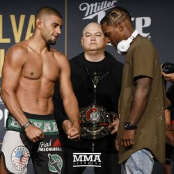 Douglas Lima and Lorenz Larkin square off at Bellator NYC weigh-ins.