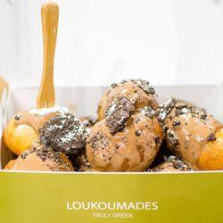 Yaya's loukoumades (hazelnut praline, Oreos, powdered sugar)