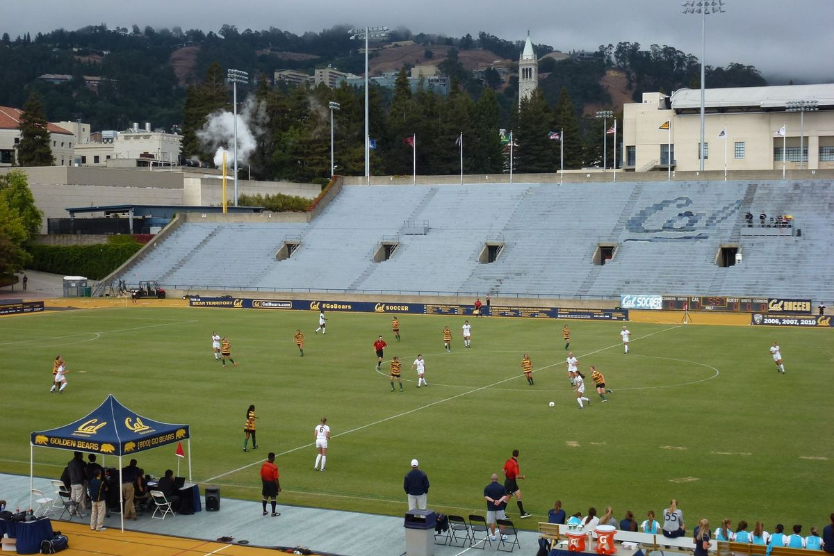 my cal women s soccer match experience a photo essay it s a nice view of the campanile and the big c from the stands of edwards stadium