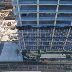 Looking down, across 8th Street, to the new NCR headquarters.