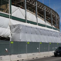 Covered scaffolding, along Addison Street