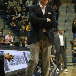 The Toledo coach not looking too happy<br>