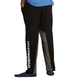 """These <a href=""""https://www.jinx.com/p/overwatch_inset_lounge_pants.html""""><em>Overwatch </em>insert lounge pants</a> are a bit more slim fit, with a gray stripe in the center of each leg. They say men's, but look pretty comfortable for anyone. $34.99."""
