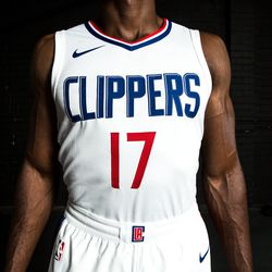 """Front view of the Clippers' white """"Association edition"""" jersey."""