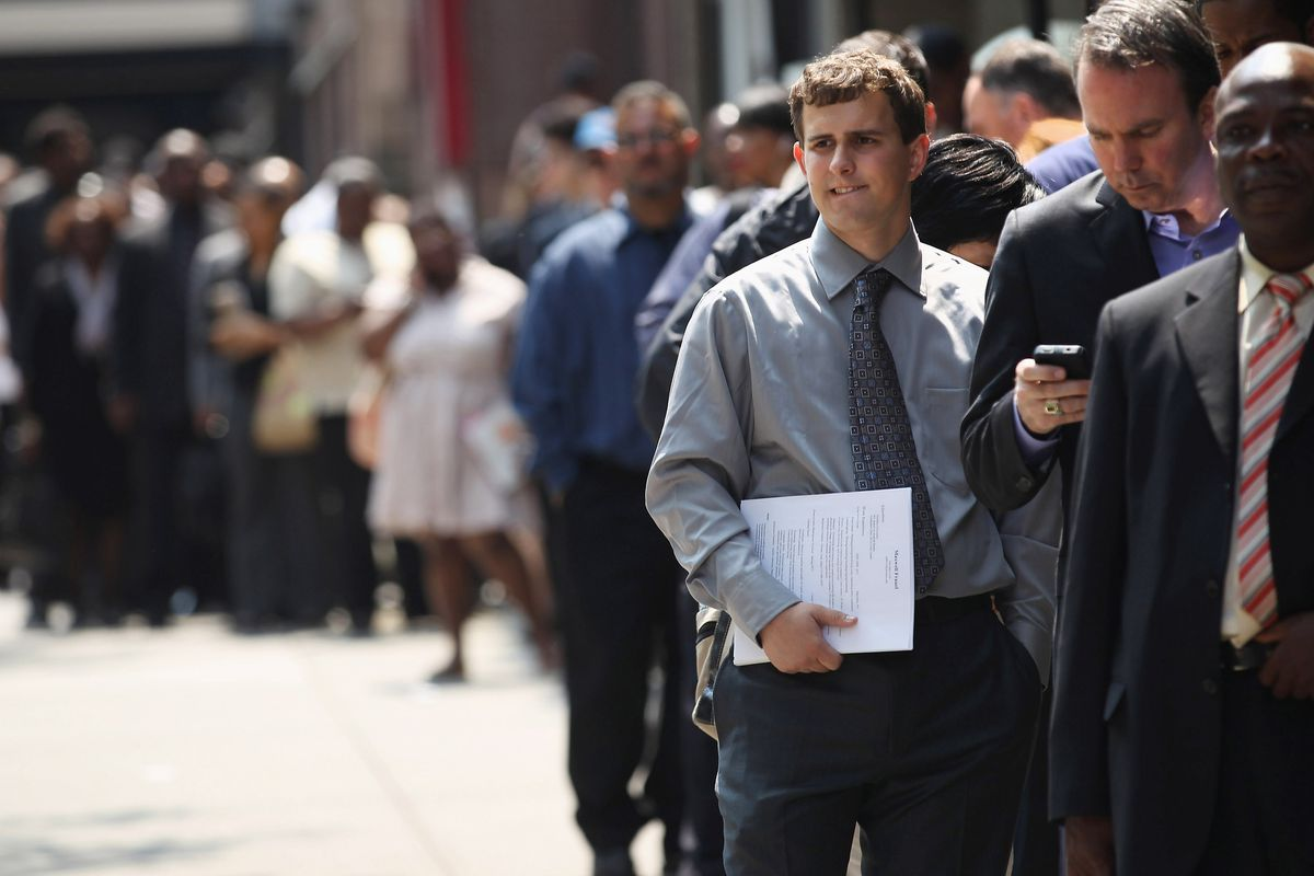 what president trump doesn t understand about job creation and people in line for a job fair john moore getty images