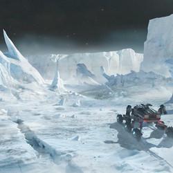 Concept art showing the art target for <em>Elite</em>'s icy worlds.