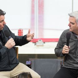 Mike Maniscalco interviews assistant general manager and new Charlotte Checkers head coach Mike Vellucci. July 1, 2017. Carolina Hurricanes Summerfest and Development Camp, PNC Arena, Raleigh, NC. Copyright © 2017 Jamie Kellner. All Rights Reserved.