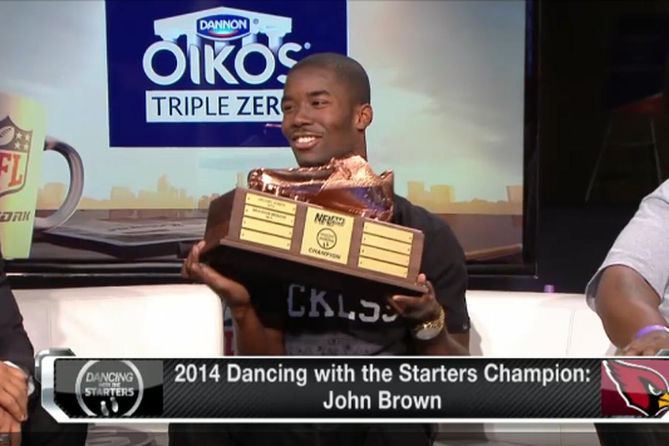 Jerseys NFL Wholesale - John Brown gets trophy for touchdown dance - Revenge of the Birds