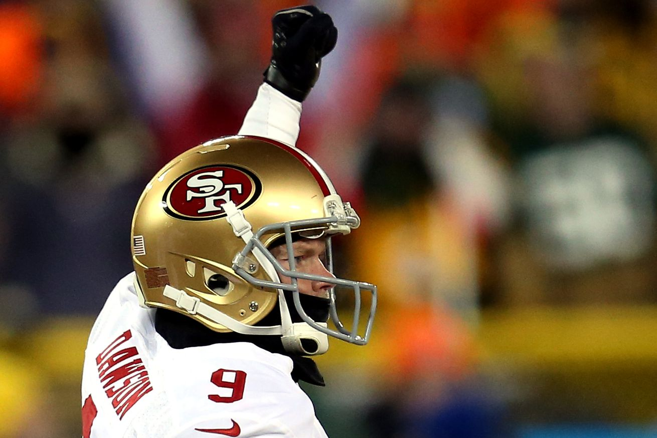 NFL Jerseys NFL - Phil Dawson kick almost blocked, but there was an offsides flag on ...