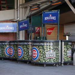 Program book vendor carts, still with the World Series graphics, stored inside of the bleacher gate