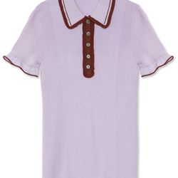 "<a href=""https://www.alexachung.com/row/frill-polo-shirt-lilacbrown-37"">Frill Polo</a>, $460"