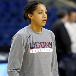UConn's Gabby Williams listens to instruction during a drill at their Sweet 16 practice.<br>