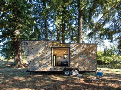 Tiny house doubles as rock climbing gym