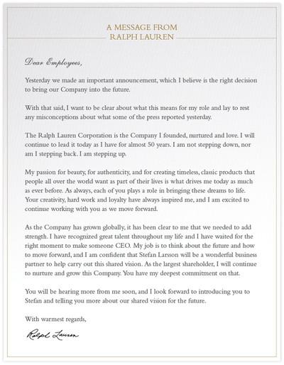 ralph lauren letter