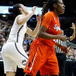 UConn's Kia Nurse (11) celebrates after making her eighth three-pointer of the first half.