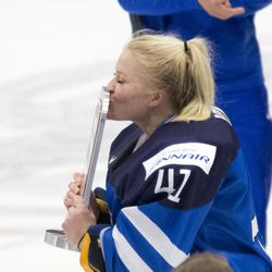 Team Finland celebrate winning the bronze medal.