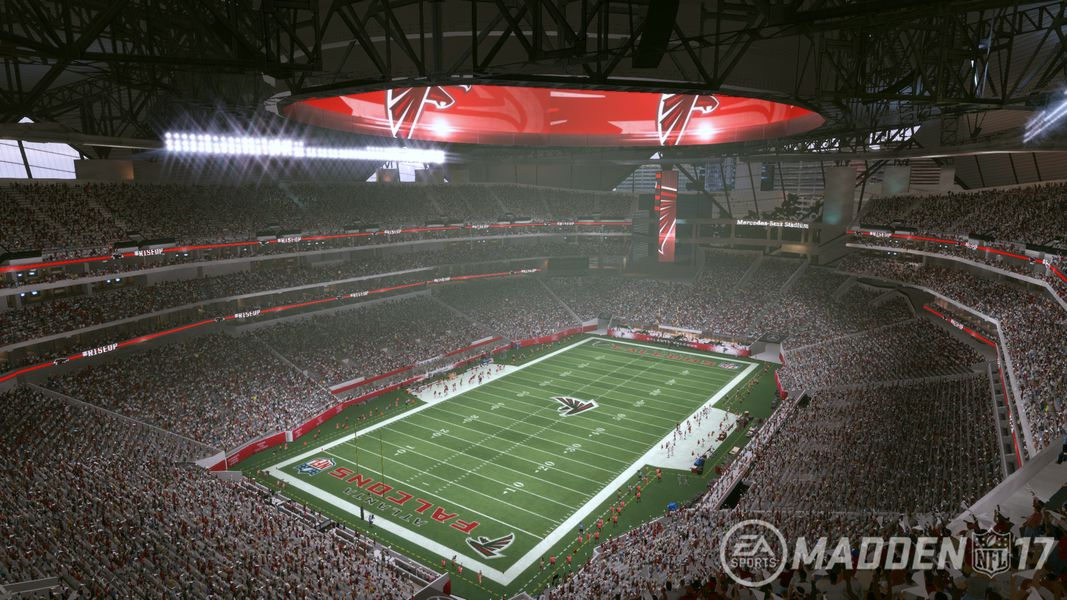 Tour the nfl 39 s newest stadium with madden nfl 17 polygon for Hotels near mercedes benz stadium
