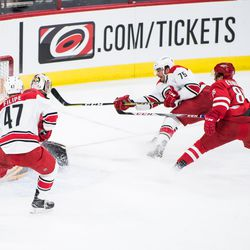 Spencer Smallman with the drive. July 1, 2017. Carolina Hurricanes Summerfest and Development Camp, PNC Arena, Raleigh, NC. Copyright © 2017 Jamie Kellner. All Rights Reserved.