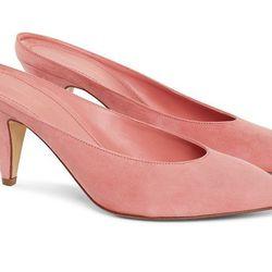 """Mansur Gavriel <a href=""""https://www.mansurgavriel.com/products/suede-65mm-heel-slipper-blush"""">Blush Slipper</a>, $495"""