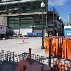 View through the construction fence, at Addison and Sheffield
