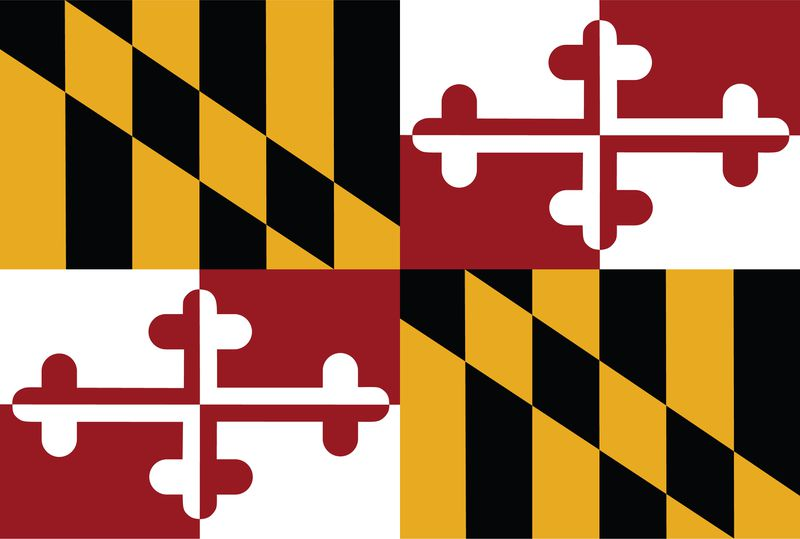 The Maryland state flag: In the top left and bottom right corners, a black-and-yellow diagonal squares pattern; in the top right and bottom left corners, a red and white fancy cross pattern.