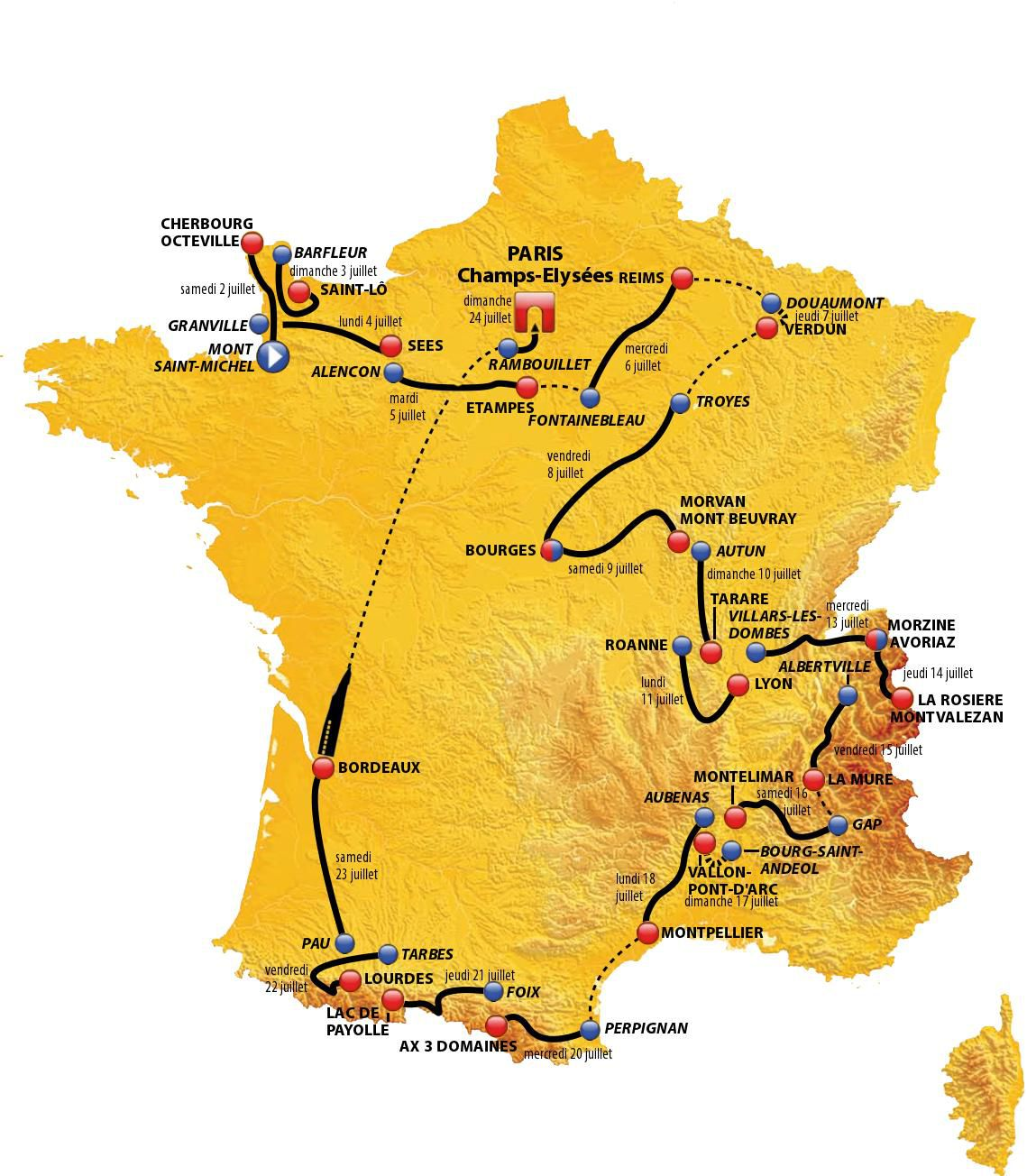 Map 2016 Tour De France
