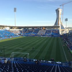 Stade Saputo filling up a few hours before the game. I think the Fire supporters got in there before the Montreal supporter's groups.