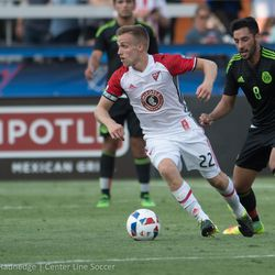 Tommy Thompson in action in the MLS Homegrown game at Avaya Stadium.
