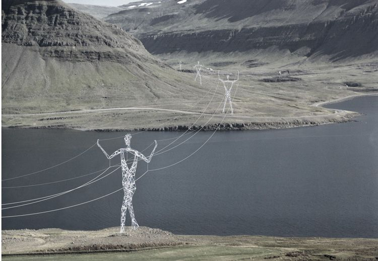 A fanciful proposal for transmission towers in Iceland.