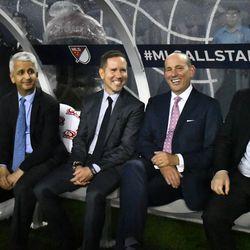 L->R: Sunil Gulati, President of the US Soccer Federation; A Mystery Man; Don Garber, MLS Commish; Florentino Perez, President of Real Madrid