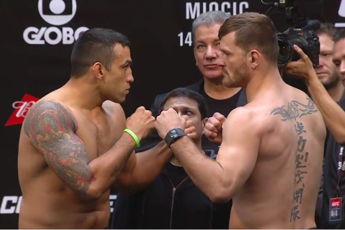 community news, Fabricio Werdum vs Stipe Miocic staredown pic, video from UFC 198 weigh ins in Brazil