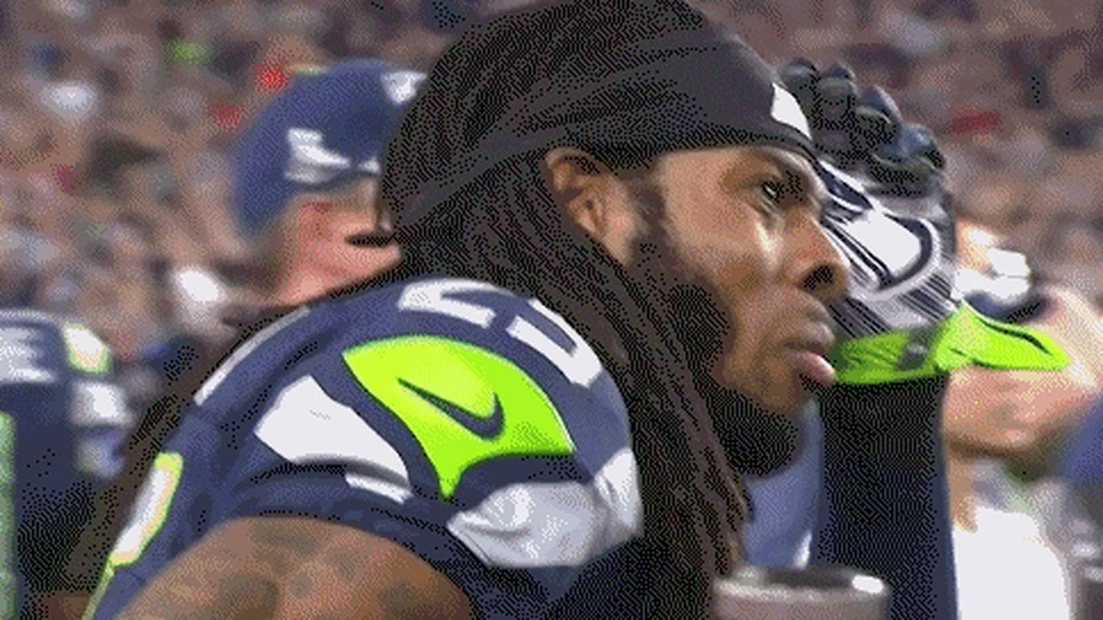 Richard Sherman's reaction to the Super Bowl-ending ...
