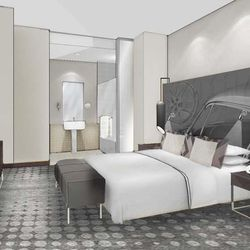 A rendering of a room at the hotel.