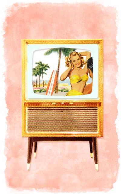 Beach scene in a vintage TV