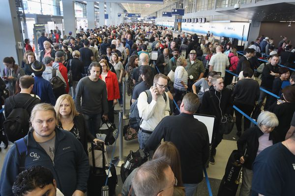 A real TSA line at O'Hare.