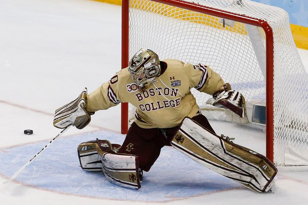 boston college falls to new brunswick sb nation college hockey boston college junior goaltender thatcher demko appeared healthy as his eagles scored twice in the first period but five new brunswick goals after he