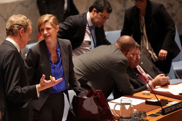 US Ambassador to the UN Samantha Power after a Security Council session on Syria.