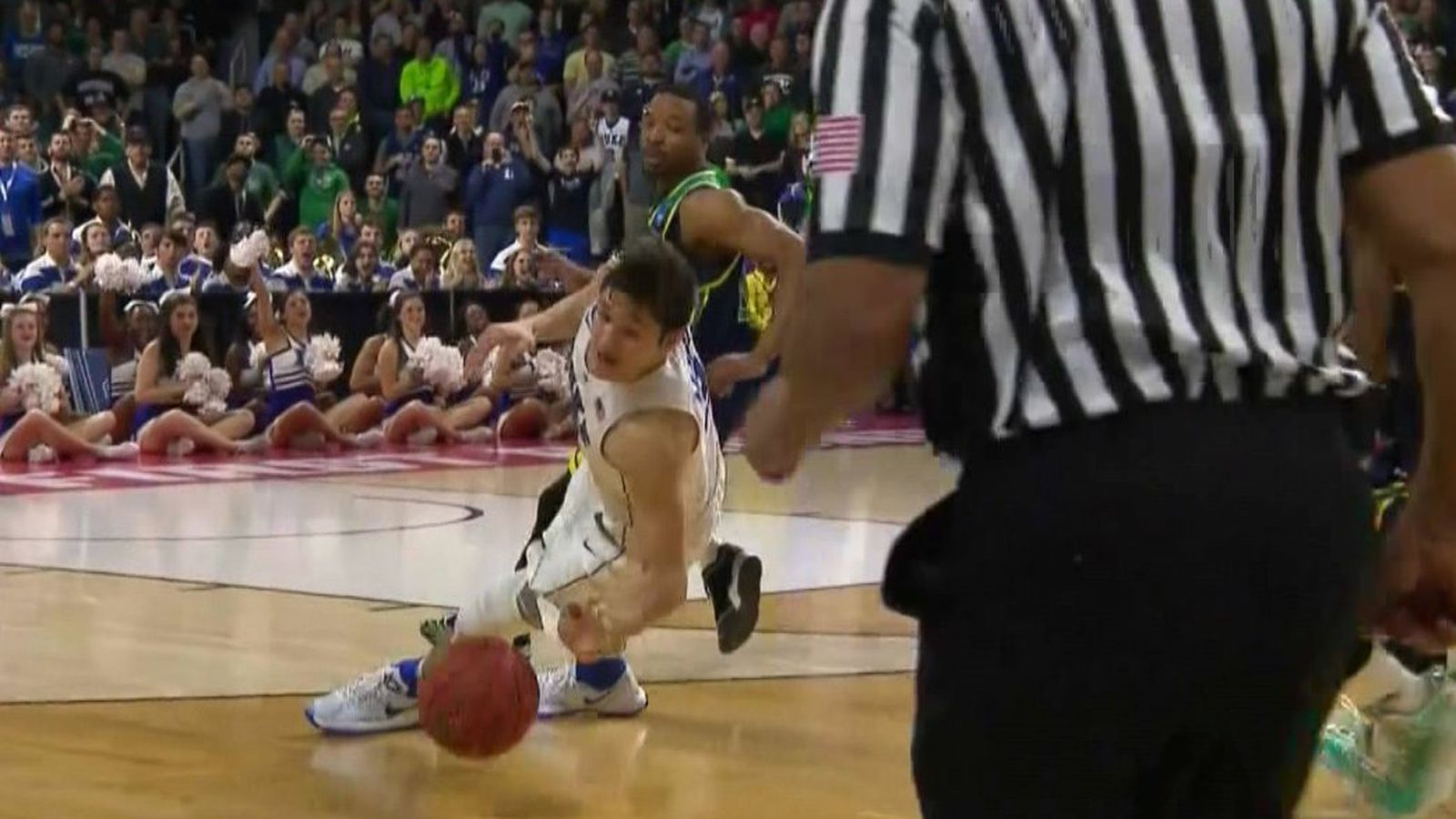 Duke's Grayson Allen slipped twice in the exact same spot ...