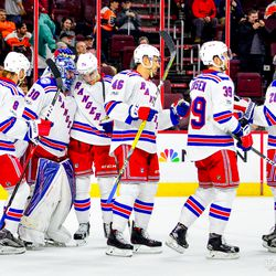 New York Rangers celebrate their victory.