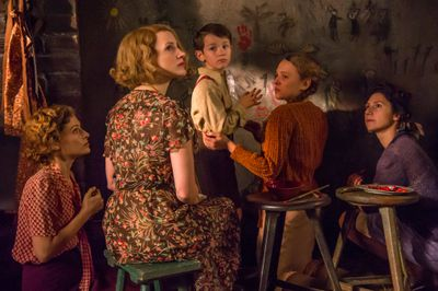 Jessica Chastain, Efrat Dor, Shira Haas, and Timothy Radford in The Zookeeper's Wife
