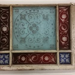 Window frame with decorative glass from a Second Avenue elevated station circa 1875