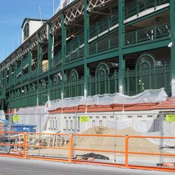View of the west side of Wrigley Field, from Clark Street