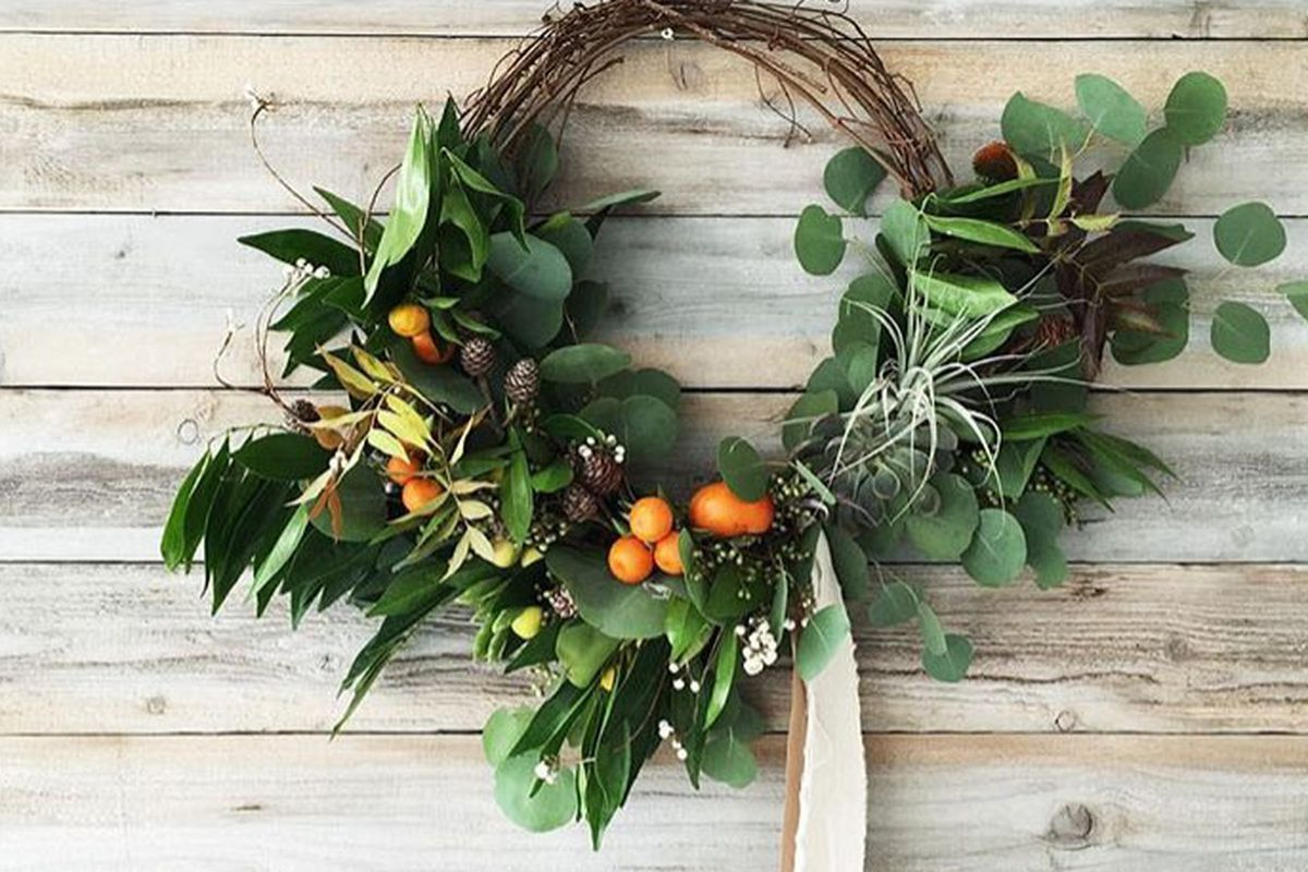 Holiday Wreath Workshop at Poketo Queen for Dinner Pop Up