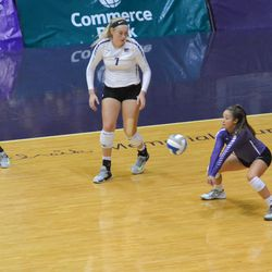 MANHATTAN - K-State sophomore Reilly Killeen makes a dig during a match against Arkansas on Aug. 31, 2017.