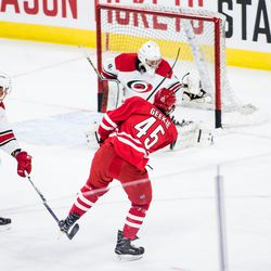 Morgan Geekie gets past camp invitee Wyatt Newpower for a shot attempt. July 1, 2017. Carolina Hurricanes Summerfest and Development Camp, PNC Arena, Raleigh, NC. Copyright © 2017 Jamie Kellner. All Rights Reserved.