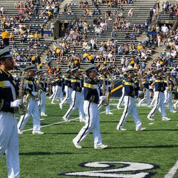The Toledo Band marching down the field.<br>