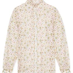 "<a href=""https://www.alexachung.com/row/ruffle-collar-blouse-floral-multi-white-57"">Ruffle Collar Blouse</a>, $370"
