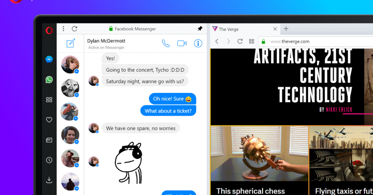 Opera's new browser gives you direct access to WhatsApp, Messenger