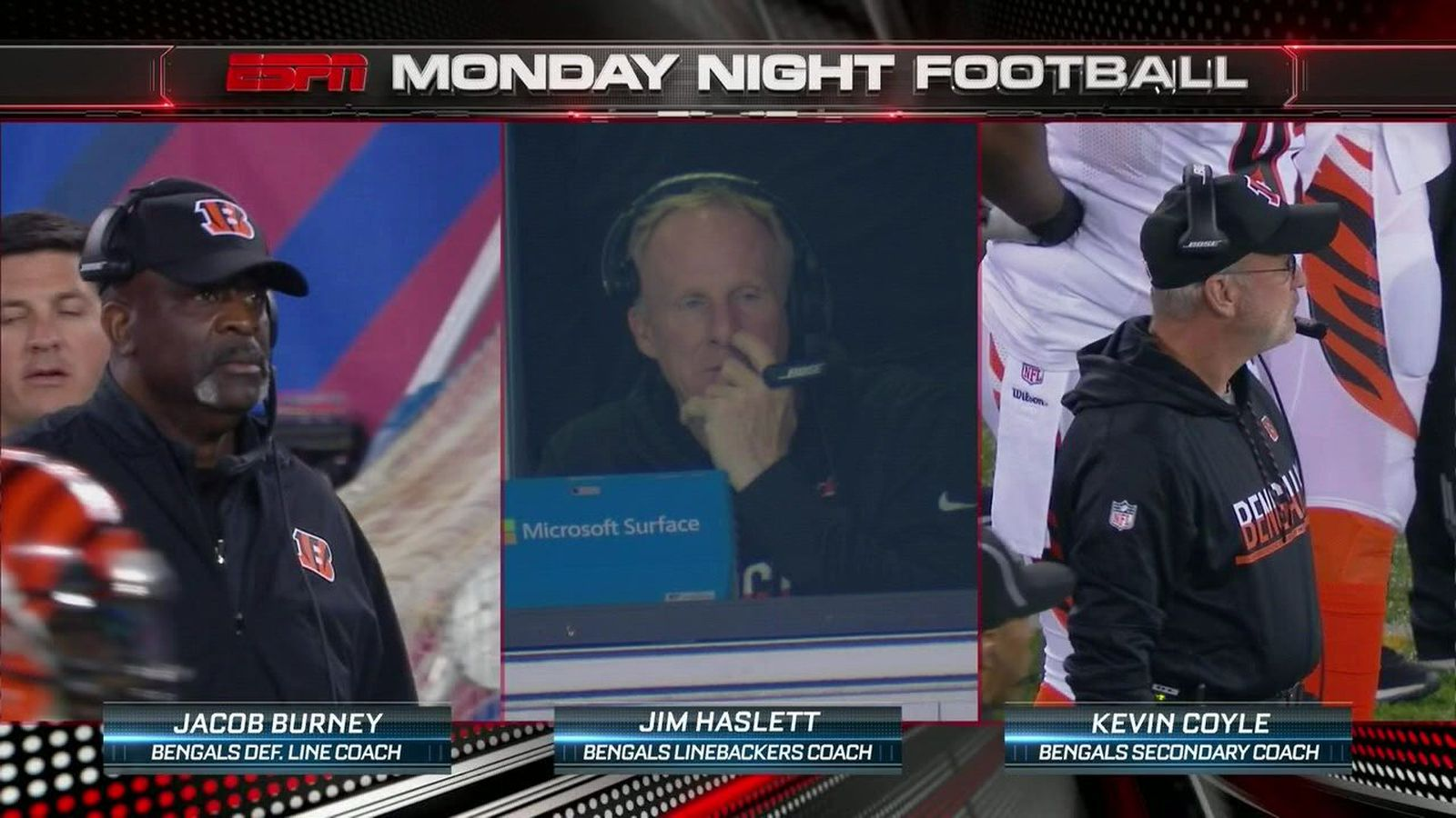 Bengals LB coach Jim Haslett got caught picking his nose in the coaches booth - SBNation.com